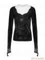 Black Gothic Diamond Velvet T-Shirt for Women