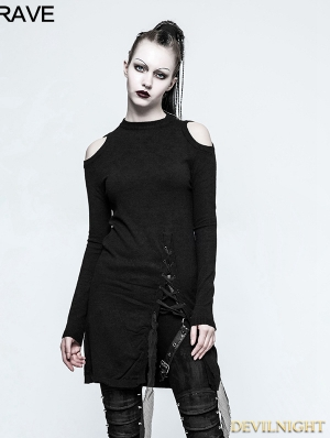 Black Gothic Slit Off-the-Shoulder Sweater for Women
