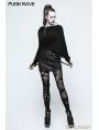 Black Gothic Punk 3D Cutting T-Shirt for Women