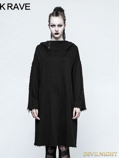 Black Gothic Punk Loose Sleeve Hoodie for Women