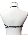 Black Elastic Hollow Out Gothic Harness Cupless Bra