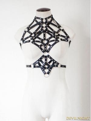 Black Gothic Punk Pentagram Leather Suspender Harness