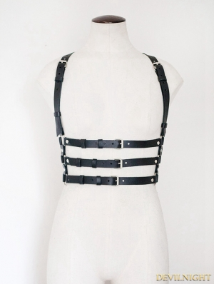 Unisex Black Suspenders Belts Leather Body Bondage Harness