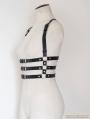 Unisex Black Suspenders Belts Leather Body Bondage Harness