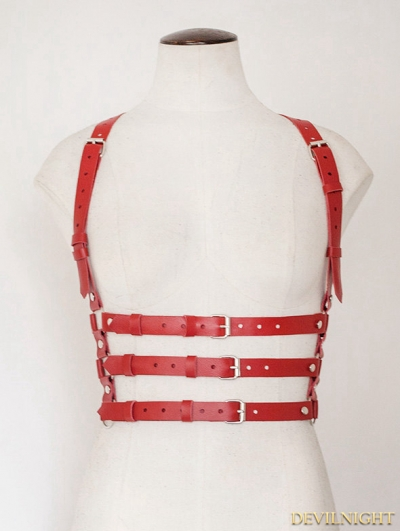 Red Suspenders Belts Leather Body Bondage Harness