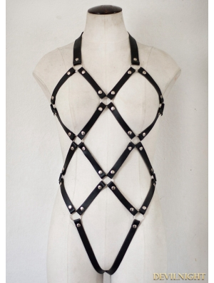 Gothic Sexy Leather Body Bondage Cage Harness