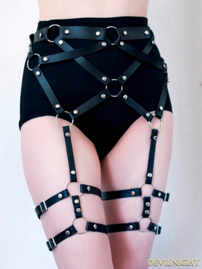 Black Leather Gothic Body Harness Belt Leather Garters