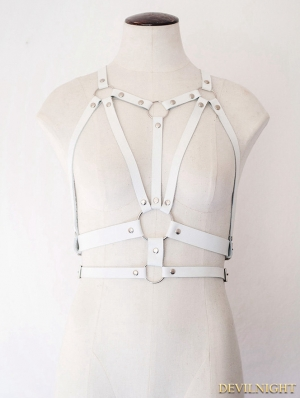 White Gothic Leather Body Bondage Belt Harness