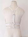 White Gothic Leather Body Bondage Belt Harness