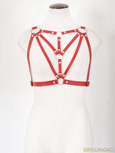 Red Gothic Leather Body Harness Bondage Belt Harness