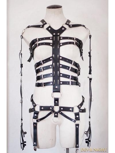Black Gothic Punk Leather Ring Body Bondage Belt Harness