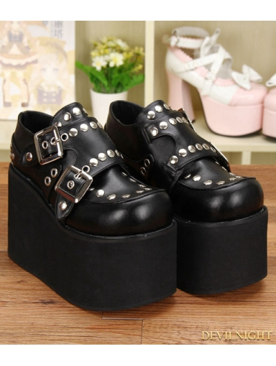 Black Gothic Punk PU Leather Rivet Buckle Belt Platform Shoes