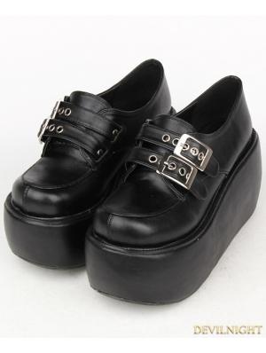 Black Gothic Punk Buckle Belt PU Leather Platform Shoes