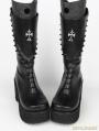 Black Gothic Punk Cross PU Leather High Heel Boots