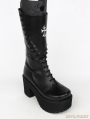 Black Gothic Punk Cross PU Leather High Heel Boots