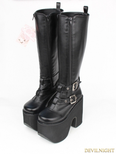 Black Gothic PU Leather Belt Zipper High Heel Knee Boots