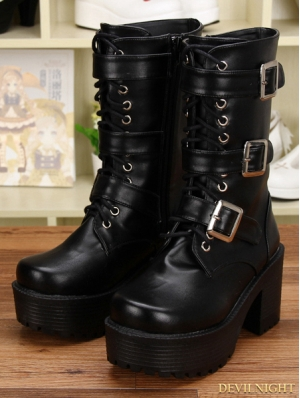 Black Gothic Punk PU Leather Lace Up Buckle Belt Mid-Calf Boots