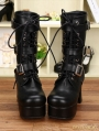 Black Gothic PU Leather Buckle Belt Lace Up Chunky Heel Mid-calf Boots