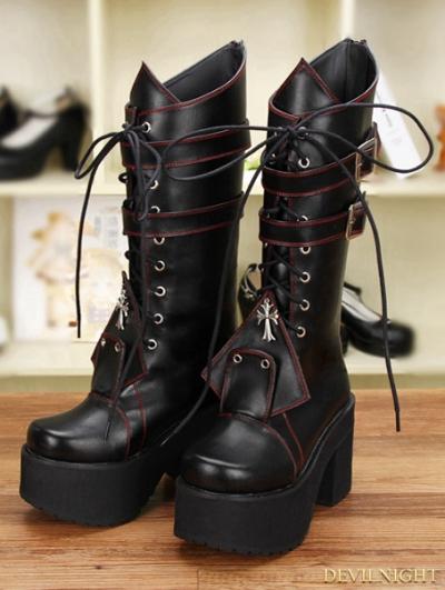 Black Gothic Punk Cross Lace-up Belt PU Leather Boots