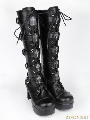 Black Gothic Punk PU Leather Lace Up Cross Belt High Heel Knee Boots