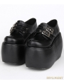 Black Gothic Punk PU Leather Buckle Belt Platform Shoes