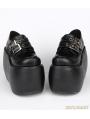 Black Gothic Punk PU Leather Buckle Belt Platform Shoes
