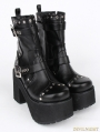 Black Gothic Punk PU Buckle Belt Platform Chunky Heel Mid-Calf Boots