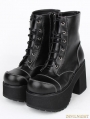 Black Gothic PU Leather Lace Up Platform Chunky Heel Mid-Calf Boots