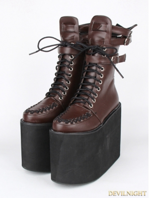 Brown Gothic PU Leather Lace Up Buckle Belt Platform Mid-Calf Boots