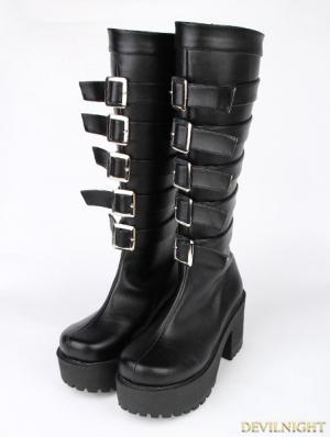 Black Gothic Punk PU Buckle Belt Platform Chunky Heel Knee Boots