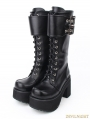 Black Gothic Punk PU Leather Lace Up Buckle Belt Platform Chunky Heel Boots