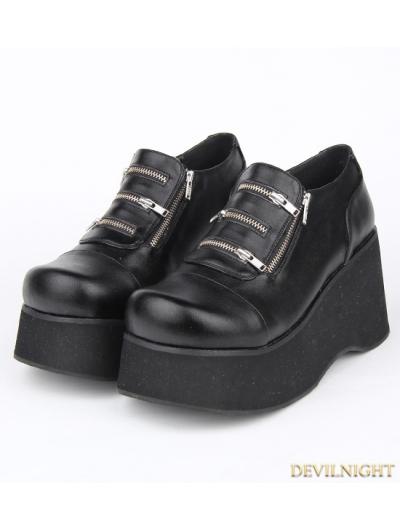 Black Gothic Punk PU Leather Zippers Platform Shoes