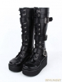 Black Gothic Punk PU Leather Lace Up Buckle Belt Platform Knee Boots