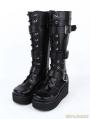 Black Gothic Punk PU Leather Lace Up Buckle Belt Platform Knee Boots