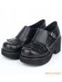 Black Gothic PU Leather Buckle Belt Fringe Shoes