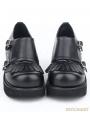 Black Gothic PU Leather Buckle Belt Fringe Shoes