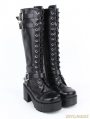 Black Gothic Punk PU Leather Lace Up Buckle Belt Chunky Heel Knee Boots