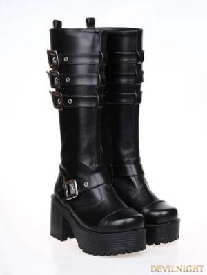 Black Gothic Punk PU Leather Buckle Belt Platform Chunky Heel Boots