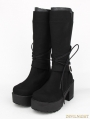 Black Gothic PU Lace Up Belt Platform Knee Boots