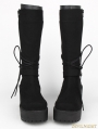 Black Gothic PU Lace Up Belt Platform Knee Boots
