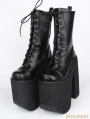 Black Gothic PU Leather Lace Up Chunky High Heel Mid-calf Platform Boots