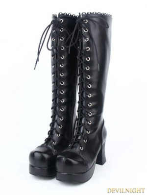 Black Gothic PU Leather Lace Up Chunky High Heel Knee Boots
