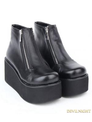 Black Gothic PU Leather Zipper Platform Ankle Boots