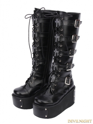 Black Gothic Punk PU Leather Lace Up Cross Belt Platform Knee Boots