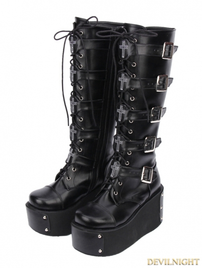 Black Gothic Punk PU Leather Lace Up Cross Belt Platform Knee Boots