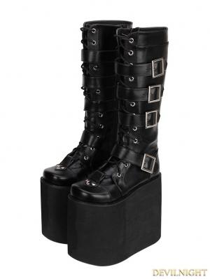 Black Gothic Punk PU Leather Lace Up Belt Platform Knee Boots