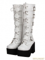 White Gothic Punk PU Leather Lace Up Belt High Heel Knee Boots