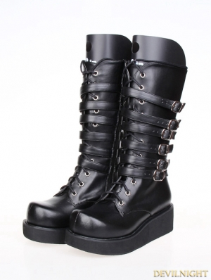 Black Gothic PU Leather Lace Up Belt Platform Boots