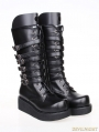 Black Gothic PU Leather Lace Up Belt Platform Boots