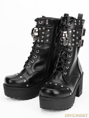 Black Gothic Punk Rock PU Leather Skull Boots